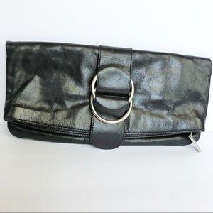 Hobo International black leather clutch buckle